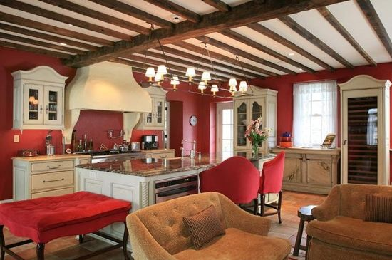Nouvelles cuisines am ricaines - Mur couleur framboise ...