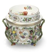 A MEISSEN FLOWER-ENCRUSTED ICE-PAIL, COVER AN
