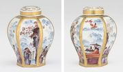 A MEISSEN CHINOISERIE HEXAGONAL TEACADDY AND