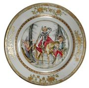 A CHINESE EXPORT 'DON QUIXOTE' PLATE