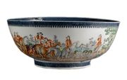 A CHINESE EXPORT HUNTING PUNCH BOWL