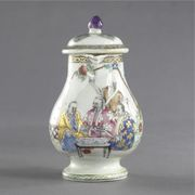 A CHINESE EXPORT 'THE FOUR DOCTORS' MILK JUG AND COVER