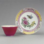 CHINESE EXPORT RUBY-BACK TEABOWL AND SAUCER