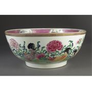 A CHINESE EXPORT FAMILLE-ROSE PUNCH BOWL