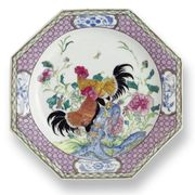 PAIR OF CHINESE EXPORT FAMILLE-ROSE OCTAGONAL PLATES