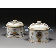 TWO SIMILAR CHINESE EXPORT ARMORIAL JARS AND COVERS