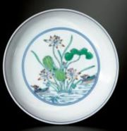 FINE PAIR OF DOUCAI 'LOTUS POND' SAUCER DISHES