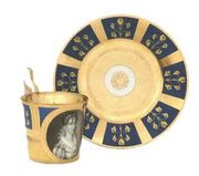 VIENNA GOLD AND MATT-BLUE GROUND IMPERIAL PORTRAIT CABINET-CUP AND SAUCER