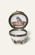 A MEISSEN SILVER-GILT MOUNTED MINIATURE BOMBE PATCH-BOX
