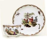 FRANKENTHAL CHINOISERIE TEACUP AND SAUCER